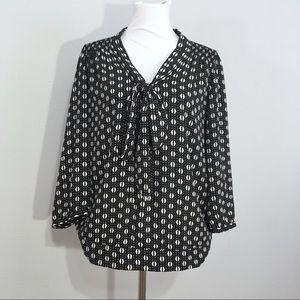The Limited Neck Tie Black & White Print Blouse L
